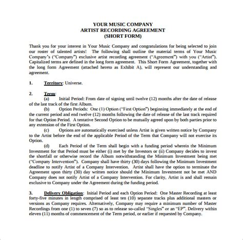 recording contract template 10 recording contract templates to sle templates