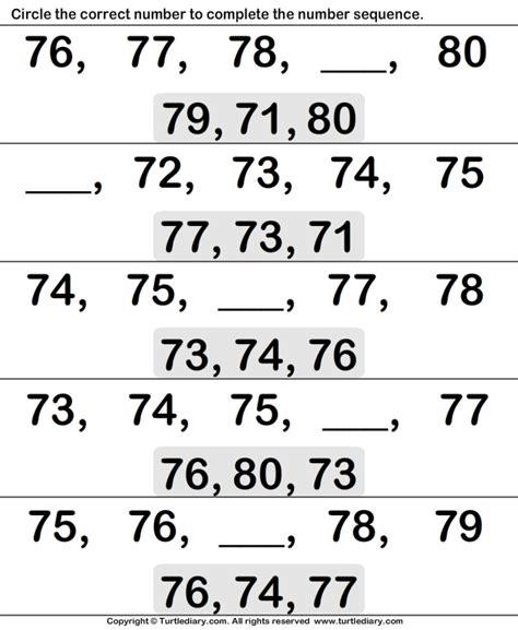 ordinal numbers seventy    worksheet turtle diary