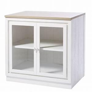 Meuble Bas 2 Portes : meuble bas de cuisine 2 portes vitr blanc embrun ~ Dallasstarsshop.com Idées de Décoration