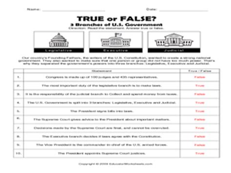 grade social studies worksheets branches government