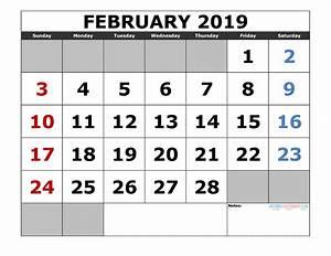 Fiscal Week Calendar 2020 Printable February 2019 Calendar Template Landscape