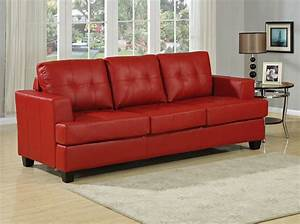 Diamond red leather sofa bed for Leather sofa bed