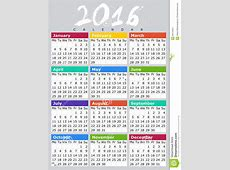 Kalendar 2016 B ENG Stock Illustration Image 60155822