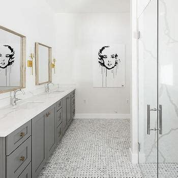 White and Gray Marble Bathroom Floor Tiles Continue Into
