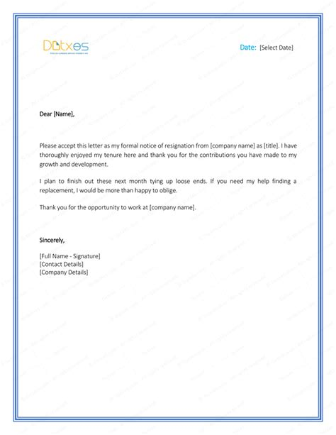 resignation letter templates  write  professional
