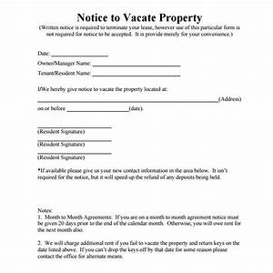 8 notice to vacate samples sample templates With notice to vacate letter to tenant template