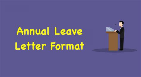 annual leave letter format annual leave application