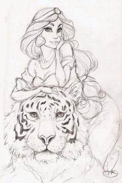 Jasmine Disney Princess Drawings Sketch Pencil Tattoo