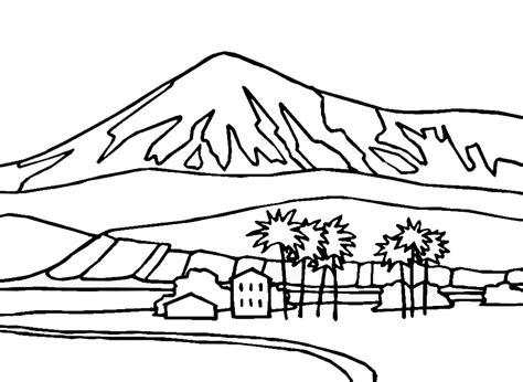 gambar mewarnai gambar pemandangan pegunungan untuk anak