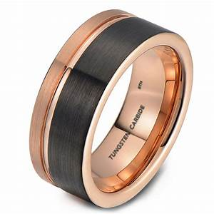mens tungsten wedding engagement band with rose gold With mens gunmetal wedding rings