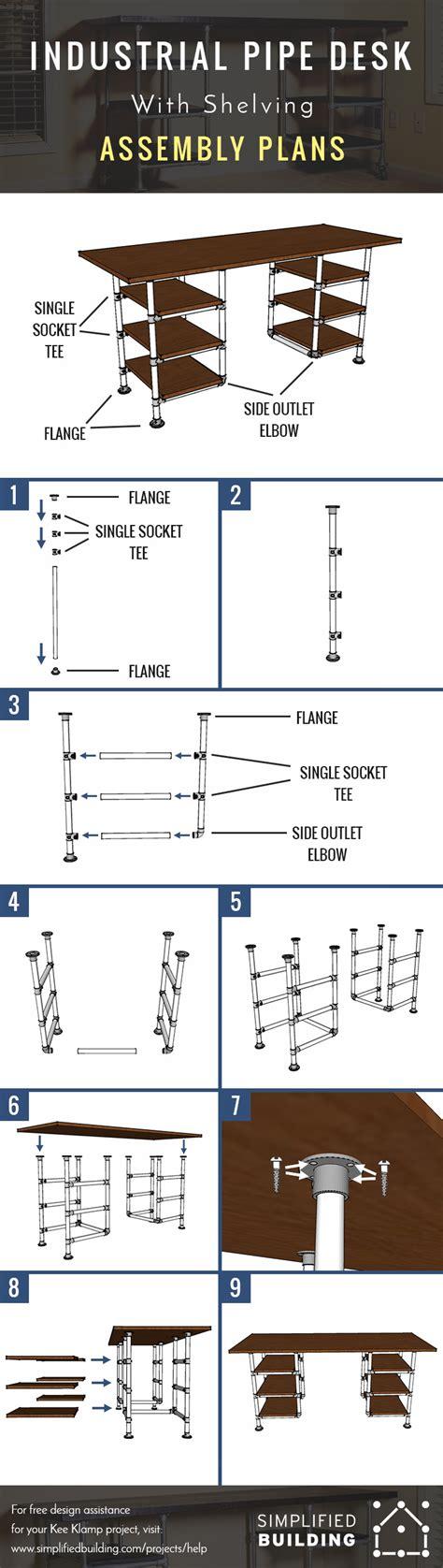 industrial pipe desk shelving plans
