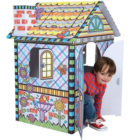 cardboard house to color color a house cardboard craft play house