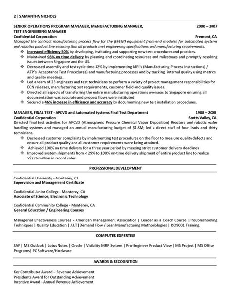 manufacturing engineering resume
