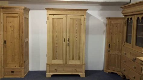 Small Double Antique Pine Wardrobe