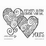 Coloring Pages Adult Austen Jane Valentines Husband Boyfriend Heart Printable Quote True Adults Valentine Sheets Hearts Quotes Books Cool Template sketch template