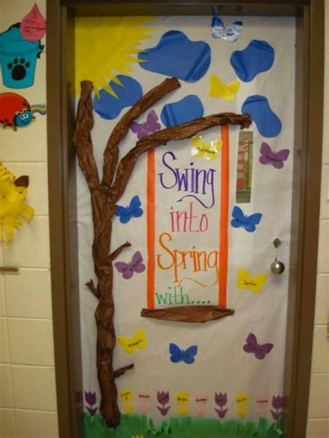 swing into spring door decoration idea jpg 450 215 600 swing