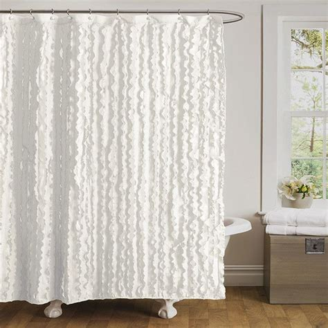 ruffled white shower curtain for the home