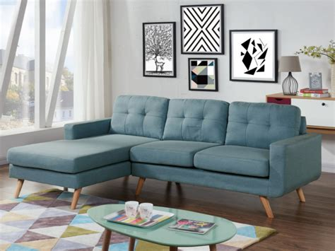 Canapé D'angle En Tissu Bleu  Angle Gauche Sigrid