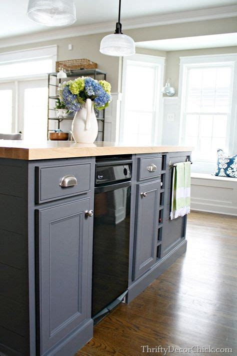 gray kitchen island painted with peppercorn from