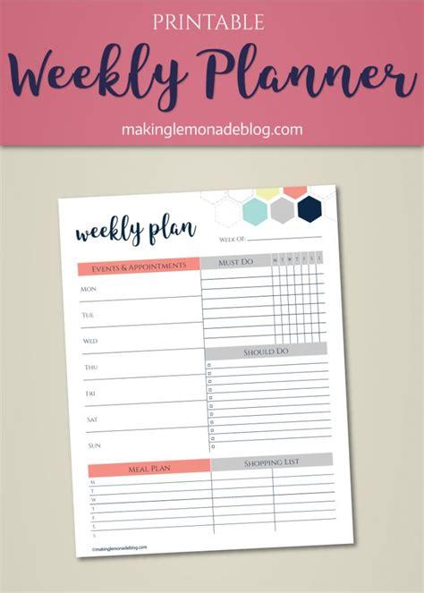 printable weekly planner  asked  listened