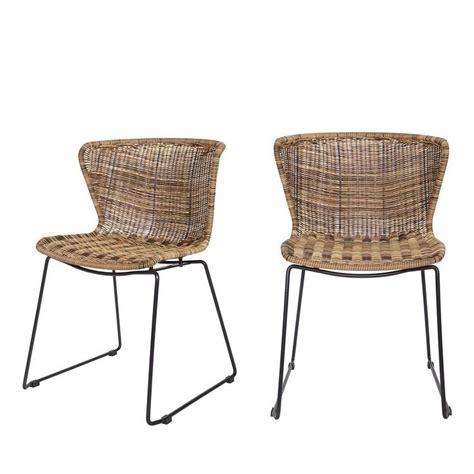 chaise ronde en rotin 2x chaises en résine tressé wings de drawer fr