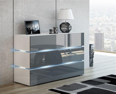 Weis Hochglanz by Kaufexpert Kommode Shine Sideboard 120 Cm Grau Hochglanz