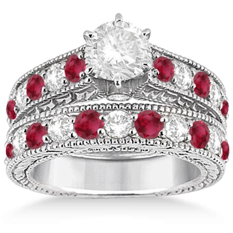 ruby bridal wedding ring 14k white gold 2 75ct u3153