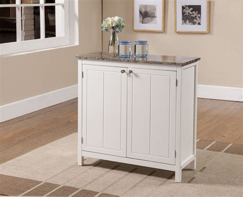 Kings Brand White With Marble Finish Top Kitchen Island