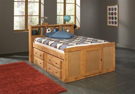 oak finish children full size bed  bookcase storage