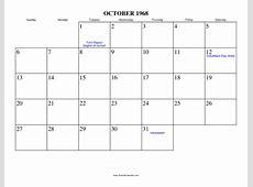 October 1968 Calendar