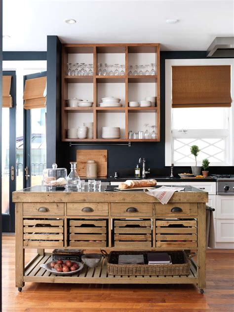 open kitchen islands rustic kitchen island with open shelving on walls how