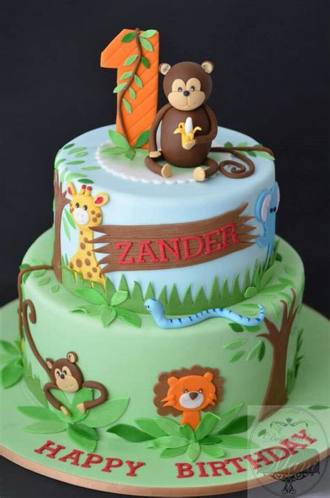 jungle safari theme birthday cake birthday st