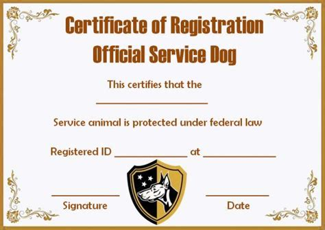 service dog papers template service dogs certificate