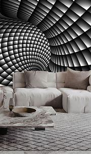 3D Abstract Black and White Swirl Self-adhesive Living ...