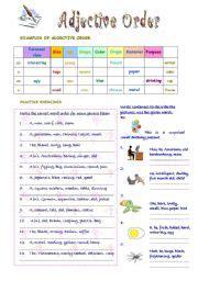 Order Of Adjectives Worksheet Teaching Worksheets Adjectives