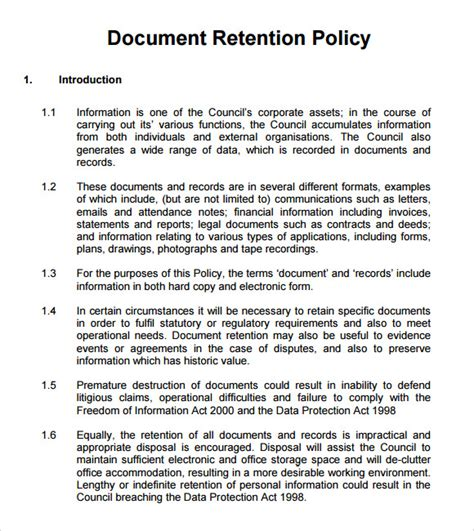 Document Retention Policy Template by 13 Document Retention Policy Sles Sle Templates