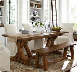 Pottery Barn Toscana Bench by Fancy Farmhouse Dining Table