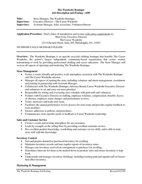 Description Resume by Clothing Retail Resume Template Sales Associate
