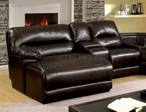Leather Sofa Glasgow by Glasgow Reclining Sectional Sofa Cm6822br In Brown Leatherette