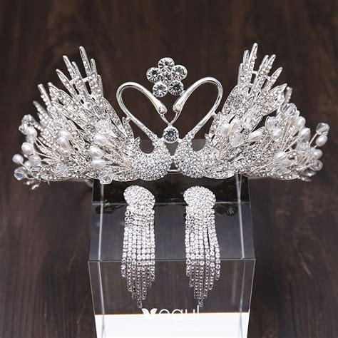 amazing unique gold bridal jewelry  metal tiara necklace tassel earrings crystal pearl