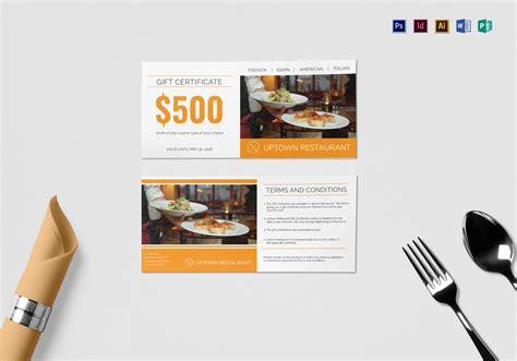 restaurant gift certificate design template  psd word