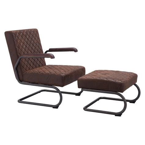 arm chair with ottoman zuo father vintage brown leatherette arm chair with