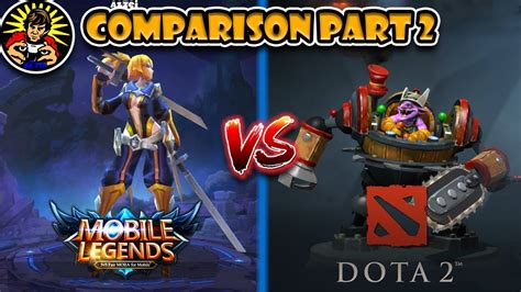mobile legends dota 2 side by side comparison r2 youtube