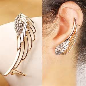 huggie hoop earrings fashion golden rhinestones wing women ear clip earrings