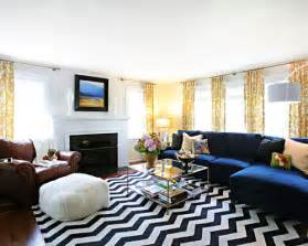 Chevron Accent Rug decorating a blue couch houzz