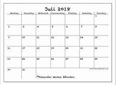 Kalender Juli 2018 MS