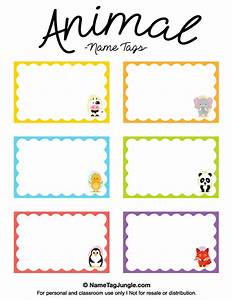 free printable animal name tags the animals include a cow With name templates for preschool