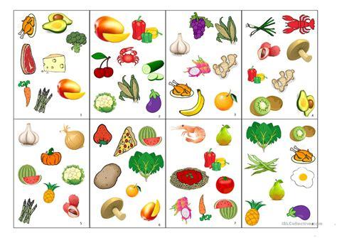 Spot-it Card Game (fruits And Vegetables) Worksheet
