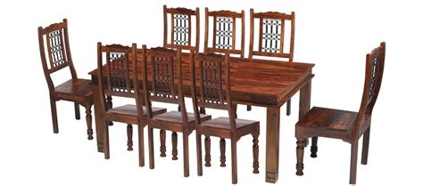 table and 8 chairs jali sheesham 180 cm chunky dining table and 8 chairs