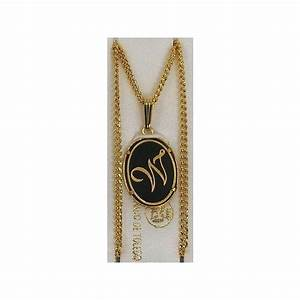damascene gold letter w oval pendant With letter w pendant